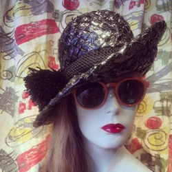 Uhhhhh-mazing black hat with black poof – $14!!! #seaurchinchic #redlight #redlightvintage #hats #accessories #seattle