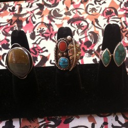 New rings #turquoise #navajo #silver #redlightvintage #petrifiedwood