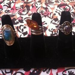 New rings #redlightvintage #amber #vintage #quartz #navajo