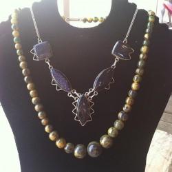 #redlightvintage #bakelite #galaxy #silver #vintage #necklaces