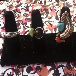 New rings #redlightvintage #vintage #turquoise #navajo #silver