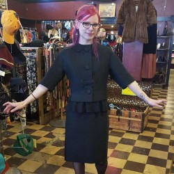 I tried on cool clothes at work today. #vintage #1960s #goth #redlightvintage #shoplocal