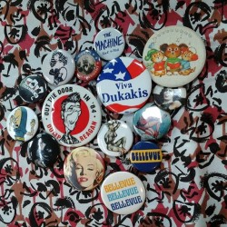 New buttons at #redlightvintage #dukakis #reagan #buttons #vintage #pinup